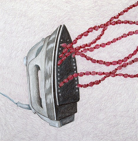 color pencil drawing iron pink red beads purple background by Holly Campbell