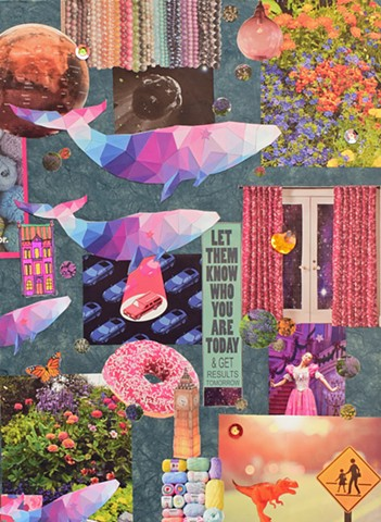 collage on paper of dolphins on blue rice paper background with dinosaur pluto yarn and doughnut by Holly Campbell
