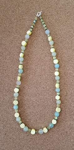 necklace fimo beads lemon slices agate glass hematite beads by Holly Campbell