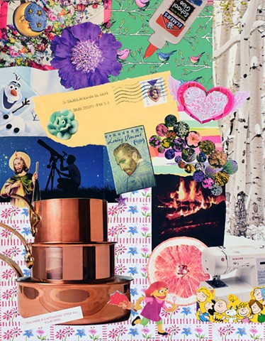 contemporary collage on paper with hearts purple flowers copper pots birch trees moon and elmer's glue by Holly Campbell
