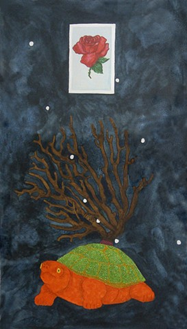 mixed media drawing on paper rose la rosa loteria card coral branch tortoise glittered turtle green orange constellation in night sky by Holly Campbell