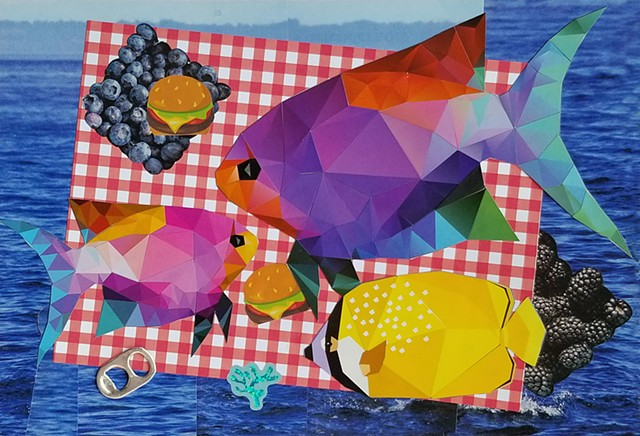 mixed-media collage on paper with three fish red and white gingham tablecloth blackberries hamburgers and the ocean by Holly Campbell
