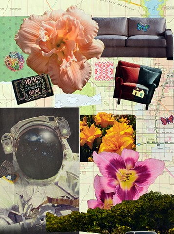 mixed-media collage contemporary collage on paper ephemera papers couch cushy chair butterflies astronaut lilies houses maps car rooftops copic markers home sweet home sign by Holly Campbell