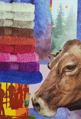 mixed-media collage on paper cow's head stack of rainbow towels ever green trees outer space and Ticonderoga pencils by Holly Campbell