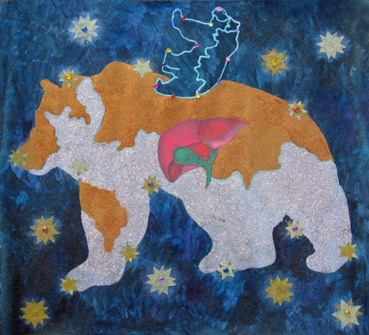 mixed media drawing large and small bear ursa major ursa minor bear map acrylic gems glitter stars night sky by Holly Campbell