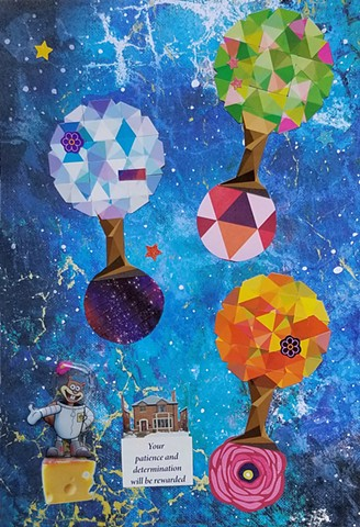 mixed-media collage on paper with Sandy Squirrel lollipop shaped trees outer space swiss cheese brick home and glittery stars by Holly Campbell