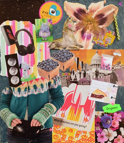 giant lily, snoopy, headphones, outer-space, rocket-ship, and cherry pie mixed-media collage on paper