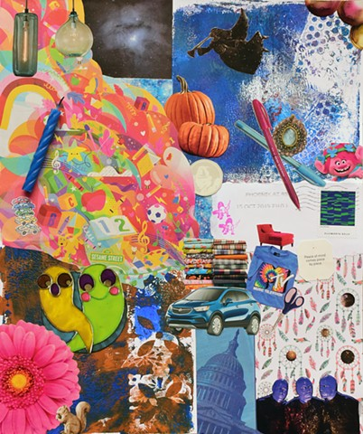 mixed media collage on paper, candles, various papers, ephemera, the color blue, blue man group, dreams,birthday candles, pumpkins, ghosts, trolls, Mtv, t-shirts, sesame street, buick encore in blue, hanging lamps, archangel gabriel, ellsworth kelly stamp