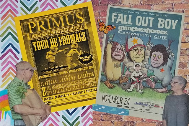mixed-media collage on paper man delivering groceries Primus and Fall Out Boy concert flyers chevrons and brick wall backgrounds by Holly Campbell