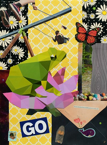 mixed-media collage on paper of a frog butterlfy swings shoe envelope and purple whale sticker by Holly Campbell
