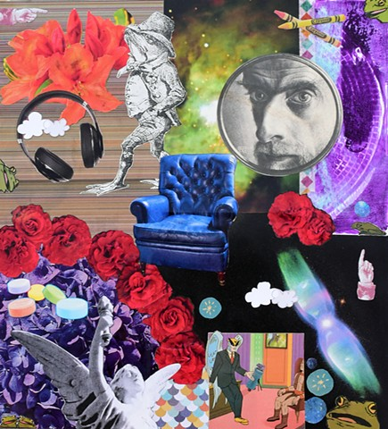mixed media collage on paper m.c. escher frog and toad headphones outer space mono printing crayons roses blue leather armchair clouds smarties angels birdman frogs by Holly Campbell