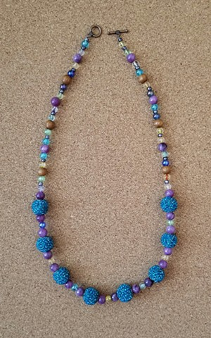 beaded nceklace quartzite, glass, wood and seed beads wth copper toggle clasp