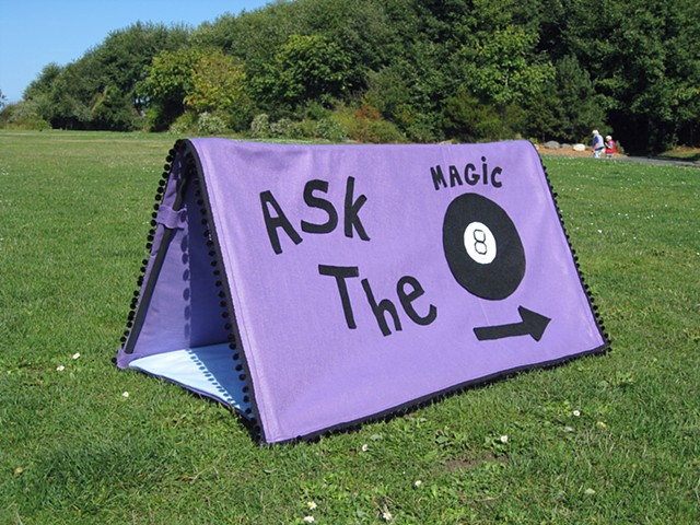 tent sculpture magic eight ball black pom poms purple felt ask questions by Holly Campbell