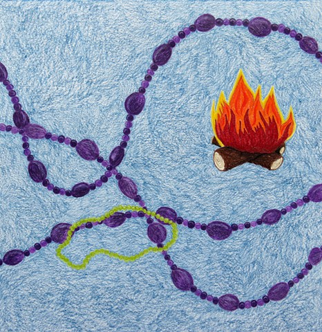 drawing color pencil purple coral beads green beads campfire by Holly Campbell