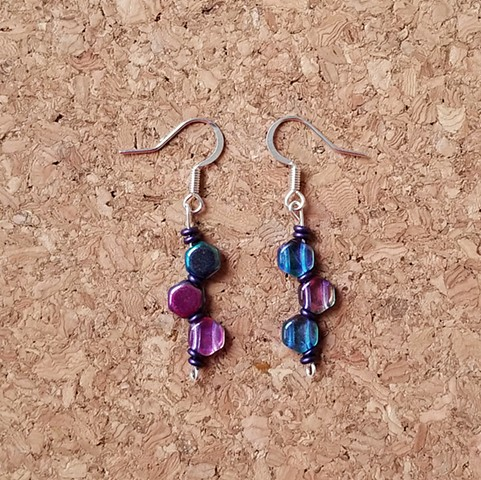 earrings Czech glass hexagon irridescent in silver-plated ear hooks by Holly Campbell