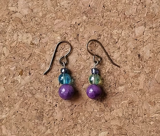 set of earrings with purple dyed quartzite, glass and seed beads with genuine brass ear hooks