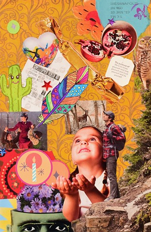 mixed-media collage on paper birthday candles wishes dreams christopher robbin cactus pomergrante hearts movie ticket candy monty python mary poppins returns owls quotes butterflies