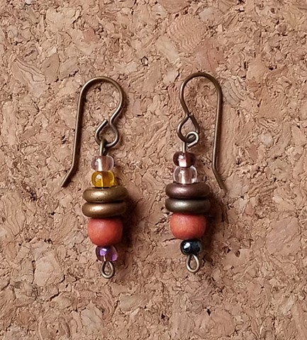 earrings in orange wood and Czech glass seed beads with genuine brass ear hooks