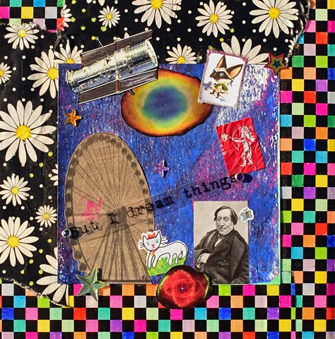 mixed-media collage daisys checkerboards duct tape satellites skippy john jones rainbow stars tootsie pop wrappers fereis wheel rossini mono printing cats butterflies hubble photos by Holly Campbell