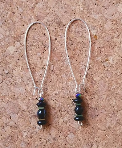 earrings natural black stone glass hematite beads drop earrings in silver ear hooks by Holly Campbell