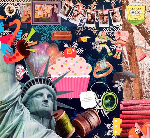 Lady Liberty statue of liberty cupcakes La Grands Jatte Georges Seurat space bears spools of ribbon couches Spongebob Squarepants mixed media collage
