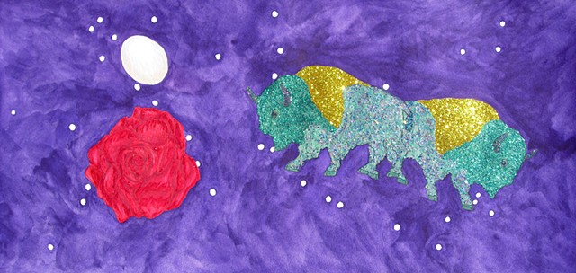 mixed media drawing on paper buffalo rose an egg outer space by Holly Campbell