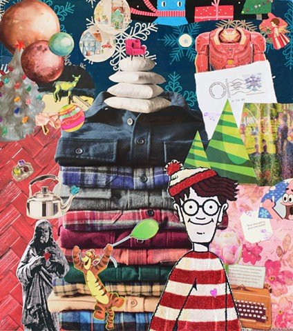 mixed media collage Waldo flannel shirts Jesus sunny afternoon on La Grands Jatte Patrick Starr snowflakes by Holly Campbell