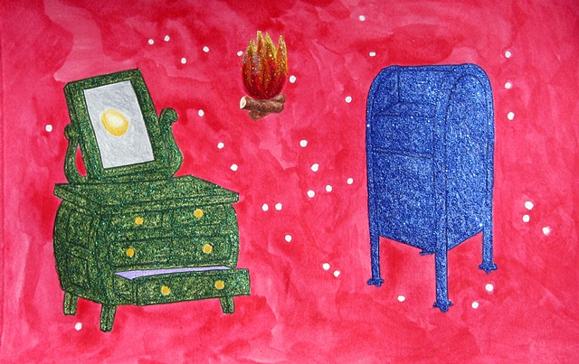 mixed media drawing on paper green dresser mirror gold egg campfire glitterglue blue mailbox in outer space by Holly Campbell