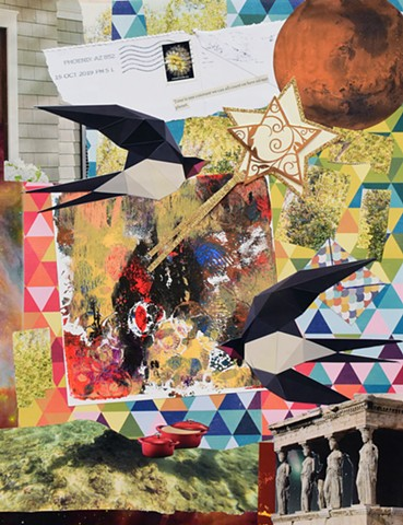 mixed-media collage on paper of two flying birds, windows, leaves on a tree, triangle papers, a red pot with a lid, the ocean floor and monoprinitng with grecian architecture