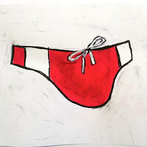 "speedo, red.   mixed media on paper 8"" x 10"""