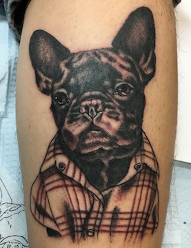 French bulldog portrait tattoo