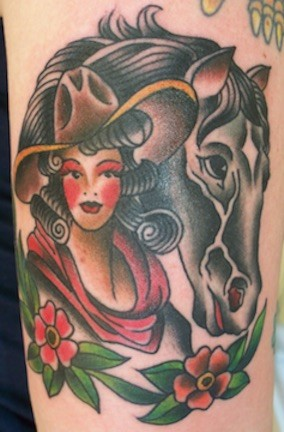 Traditional cowgirl tattoo