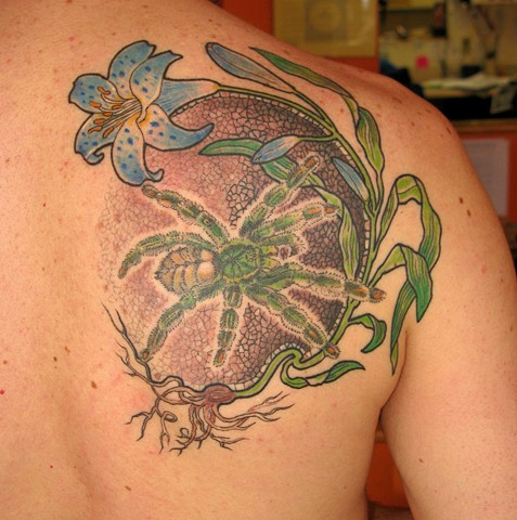 Spider and lily tattoo