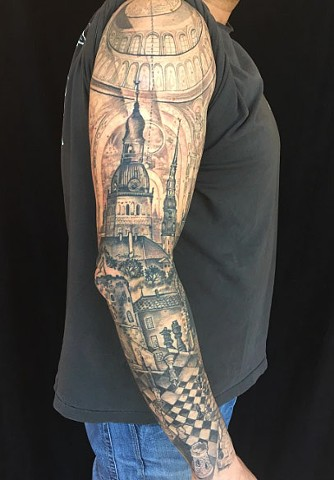 Architecture and chess sleeve tattoo