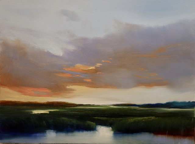 sunset oil painting on aluminum