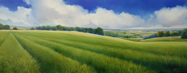 Commissioned agricultural landscape painting of rolling hills in NJ