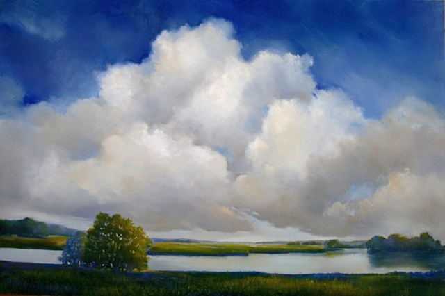 blue sky and puffy clouds, marsh grasses