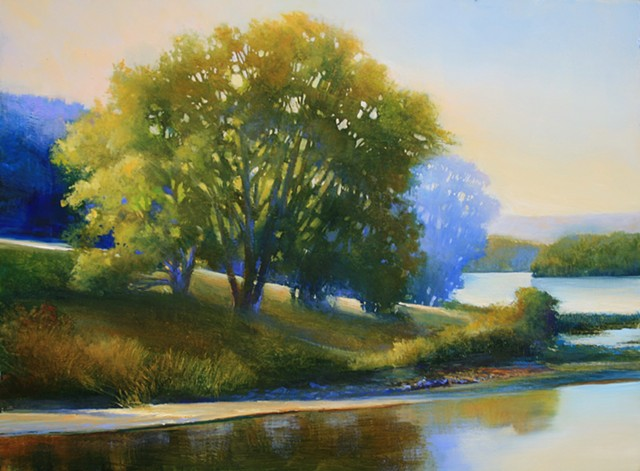 painting of tree on river banks by Janine Robertson