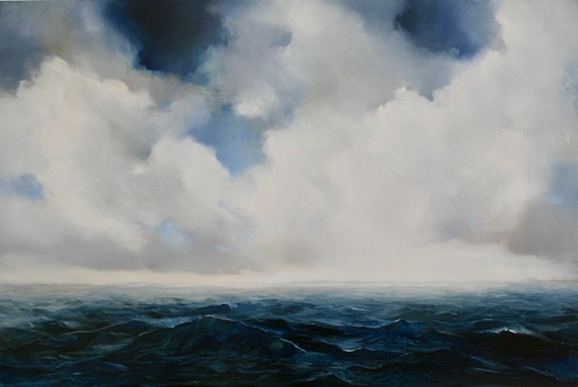 oil painting of deep blue sea and waves with clouds above