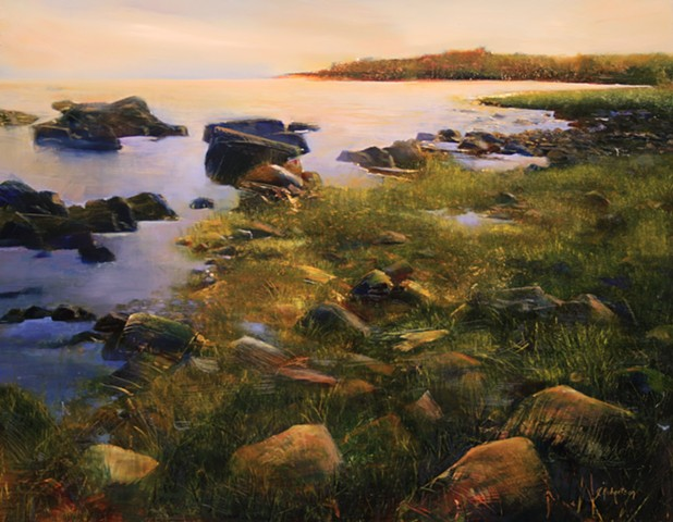oil painting rocks water of coastal Connecticut by Janine Robertson