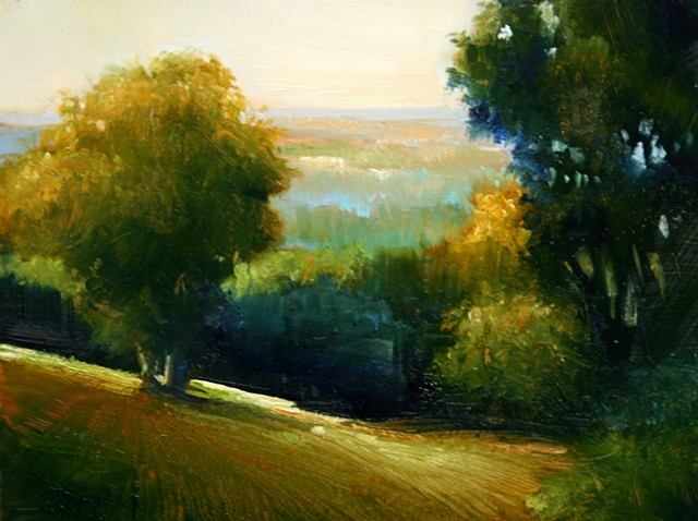 Oil landscape painting on copper with trees and valley view by Janine Robertson
