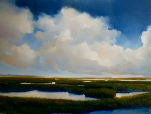 oil painting of bright blue sky clouds marsh by Janine Robertson