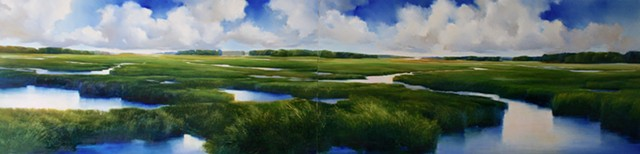 large scale diptych for hospital, original art, blues and greens salt marsh landscape