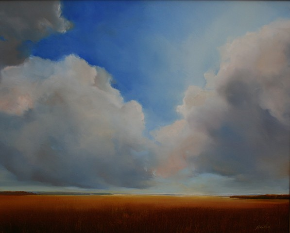 painting of blue sky clouds salt marsh by Janine Robertson