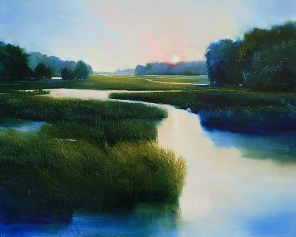 painting of sunset on salt marsh by Janine Robertson
