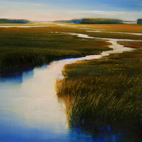 Luminous Oil painting on copper of winding salt marsh by Janine Robertson