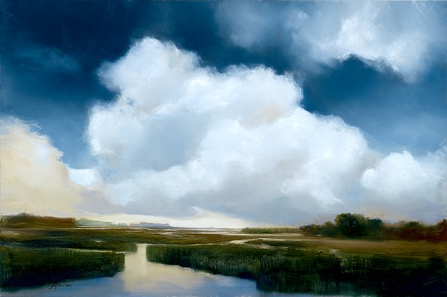cloudscape over salt marsh