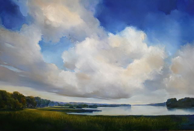 Oil landscape painting of blue sky with clouds at Yale New Haven Hospital