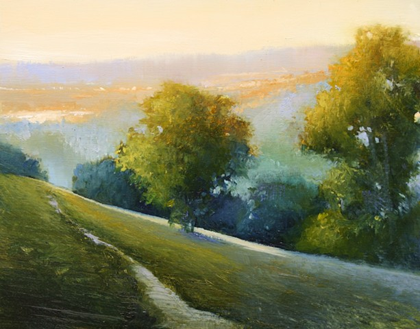 Landscape Oil painting of golden valley by Janine Robertson