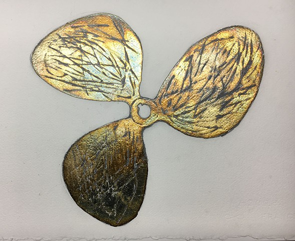 Patinaed silver leaf on paper of a propeller